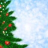 Calibre de Noël avec l'arbre de sapin Illustration brouillée de fond Photographie stock libre de droits
