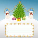 Calibre de Noël avec le bonhomme de neige et l'arbre de Noël Photos libres de droits