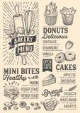 Calibre de nourriture de menu de boulangerie pour le restaurant avec le griffonnage tiré par la main illustration de vecteur