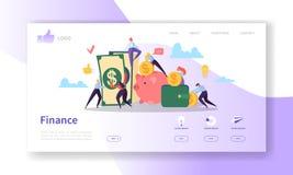 Calibre de page d'atterrissage d'affaires et de finances Disposition de site Web avec les caractères plats de personnes gagnant l illustration de vecteur