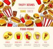 Calibre de page Web de vecteur pour le restaurant d'aliments de préparation rapide Photos libres de droits