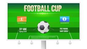 Calibre de panneau d'affichage de tasse du football avec l'endroit pour l'information et l'emblème des participants Stade de foot Image libre de droits