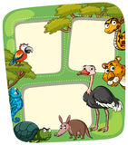 Calibre de papier avec les animaux sauvages Illustration Stock