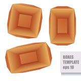 Calibre de papier de boîtes du brun trois, vue supérieure Images libres de droits
