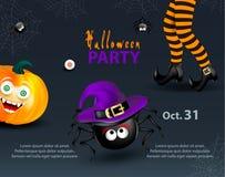 Calibre de partie de conception de vacances de Halloween avec le copie-espace pour le texte Potiron heureux avec le visage drôle  illustration de vecteur