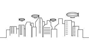 Calibre de paysage de ville Ligne mince paysage de ville Paysage urbain, illustration d'isolement par dirigeable d'ensemble Illus illustration stock