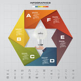 calibre de présentation de 6 étapes L'origami dénomme avec l'icône d'ampoule au milieu illustration stock