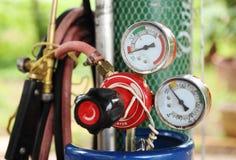 Calibre de pressão do cilindro de gás da soldadura Foto de Stock Royalty Free