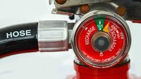 Calibre de pressão do close up do extintor fotos de stock royalty free