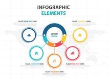Calibre de processus de chronologie d'Infographic d'affaires, bannière colorée illustration stock