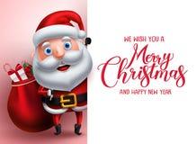 Calibre de salutation de Joyeux Noël avec le caractère de vecteur du père noël illustration stock