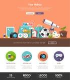 Calibre de site Web de passe-temps avec l'en-tête et les icônes Image stock
