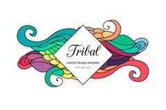 Calibre de style zentangle coloré de cadre de griffonnage avec le secteur d'espace de copie Cadre onduleux tribal ethnique de vec illustration de vecteur
