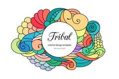 Calibre de style zentangle coloré de cadre de griffonnage avec le secteur d'espace de copie Cadre onduleux tribal ethnique sur le illustration de vecteur