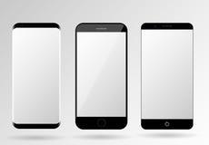 Calibre de téléphone portable de blanc de maquette de Smartphone Photographie stock libre de droits