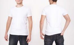 Calibre de T-shirt Vue avant et arrière Moquerie d'isolement sur le fond blanc image libre de droits