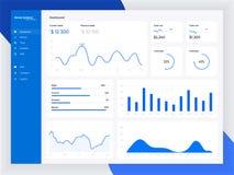 Calibre de tableau de bord d'Infographic avec les graphiques et les diagrammes plats de conception Éléments de graphiques de l'in illustration stock