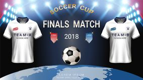 2018 calibre de tasse du football de championnat du monde, concept de match-gain final illustration libre de droits