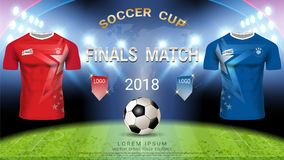 2018 calibre de tasse du football de championnat du monde, concept de match-gain final illustration stock
