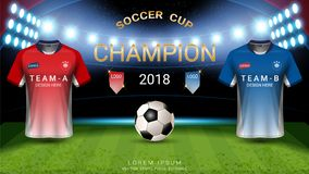 2018 calibre de tasse du football de championnat du monde, concept de match-gain final de champions illustration stock
