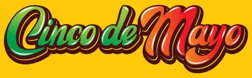 Calibre de vecteur avec le lettrage calligraphique pour la célébration Cinco de Mayo illustration libre de droits