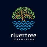 Calibre de vecteur de conception de forme de cercle de logo d'arbre de rivière illustration stock