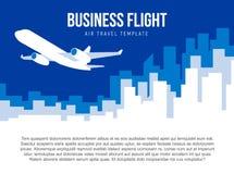 Calibre de vecteur d'affiche avec le décollage d'avion et l'horizon de ville Image libre de droits