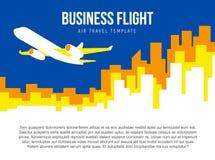 Calibre de vecteur d'affiche avec le décollage d'avion et l'horizon de ville Images libres de droits