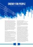 Calibre de vecteur d'affiche avec les lignes électriques et le skylin électriques de ville illustration stock