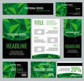 Calibre de vecteur d'identité d'entreprise avec les éléments polygonaux verts illustration de vecteur