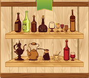 Calibre de vecteur de boisson, vieilles illustrations de bouteilles Photographie stock libre de droits