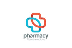 Calibre de vecteur de conception de croix de vert d'eco de logo de pharmacie Icône de concept de Logotype de médecine de clinique Photos libres de droits