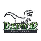 Calibre de vecteur de Dino Logo Conception de logotype de mascotte de sport de Raptor Insigne de sport de lycée de vintage T-shir Photos libres de droits