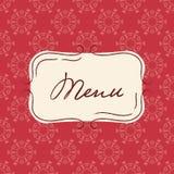 Calibre de vecteur de menu de vintage Fond sans couture avec le cadre tiré par la main dans des couleurs rouges illustration stock