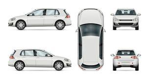 Calibre de vecteur de voiture de berline avec hayon arrière sur le fond blanc Photographie stock