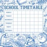 Calibre de vecteur de programme d'horaire de croquis d'école Photo libre de droits