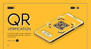 Calibre de vecteur de site Web d'appli de vérification de code de QR illustration stock