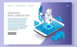 Calibre de vecteur de site Web de page d'atterrissage d'intelligence artificielle illustration stock