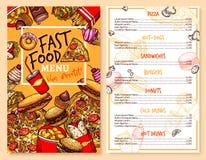 Calibre des prix de menu de restaurant d'aliments de préparation rapide de vecteur Illustration Stock