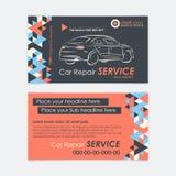 Calibre des véhicules à moteur de carte d'entreprise de services Diagnostics de voiture et réparation de transport Créez vos prop Photos stock