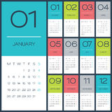 Calibre desing de vecteur du calendrier 2015 Photos libres de droits