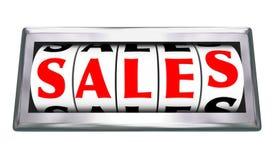 Calibre do odômetro da palavra das vendas 3d que mede negócios fechados Imagens de Stock Royalty Free