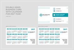 Calibre double face de carte de visite professionnelle de visite avec le calendrier pendant 2017 années La semaine commence lundi photos libres de droits