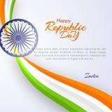 Calibre du jour heureux de République dans le calibre de l'Inde avec le texte et ruban de couleurs de la conception nationale d'é illustration de vecteur