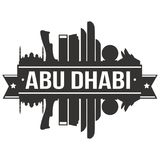 Calibre Editable de silhouette d'Art Design Skyline Flat City de vecteur d'icône d'Abu Dhabi Arab Emirates Asia illustration libre de droits