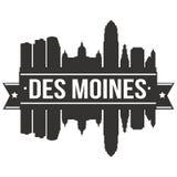 Calibre Editable de silhouette d'Art Design Skyline Flat City de vecteur d'icône de Des Moines Iowa Etats-Unis d'Amérique Etats-U illustration libre de droits