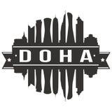 Calibre Editable de silhouette d'Art Design Skyline Flat City de vecteur d'icône de Doha Qatar Asie Photographie stock libre de droits