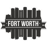 Calibre Editable de silhouette d'Art Design Skyline Flat City de vecteur d'icône de Fort Worth Texas United States Of America Eta Photos libres de droits
