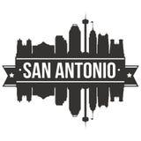 Calibre Editable de silhouette d'Art Design Skyline Flat City de vecteur d'icône de San Antonio Texas United States Of America Et Images stock