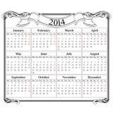 Calibre en blanc de la grille 2014 de calendrier Image stock